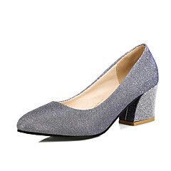 Women's Shoes Chunky Heel Heels / Round Toe Heels Wedding / Party & Evening / Dress Black / Silver / Gold