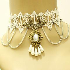 Dame Choker Halskjede Gothic Smykker Blonde Vintage Victoriansk Hvit Smykker Bryllup Fest Halloween Daglig Avslappet 1 stk