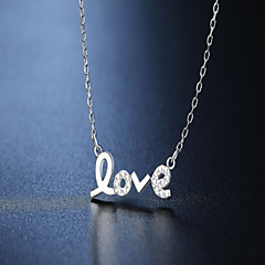 S925 pure silver necklace imitation diamond love pendant