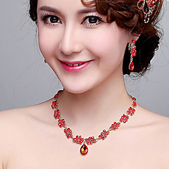 Red Anniversary / Wedding / Engagement / Gift / Party Necklace with Rhinestones