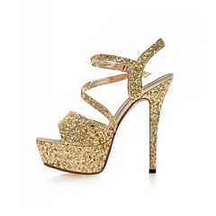 Women's Shoes Customized Materials Stiletto Heel Heels / Peep Toe / Platform Sandals Wedding / Party & Evening