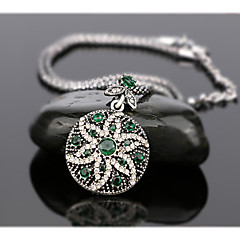 Women's Luxury Fashion Style Six Petal Flower Shaped Alloy Diamond Pendant Necklace