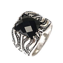 Men's Fashion Domineering Exaggerated Style Square Multi-section Alloy Agate Inlaid Rings-01