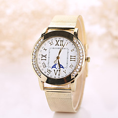 Women's Vintate Watch White Case Steel Gold Band Watch Imitation Diamond Casual Wrist Watch Jewelry for Wedding Party