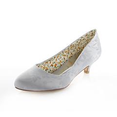 Women's Spring Summer Fall Stretch Satin Wedding Dress Party & Evening Low Heel Blue Purple Ivory Silver