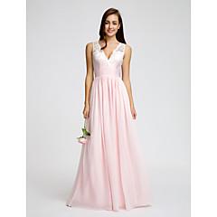 Lanting Bride® Floor-length Chiffon Bridesmaid Dress - A-line V-neck with Lace / Sash / Ribbon / Ruching