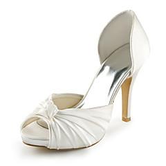 Women's Spring / Summer Heels / Peep Toe Stretch Satin Wedding / Dress / Party & Evening Stiletto Heel Bowknot Ivory