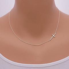 Damskie Naszyjniki z wisiorkami Circle Shape Cross Shape Stop minimalistyczny styl Europejski Bokiem Silver Golden Biżuteria NaCodzienny