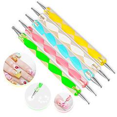 5pcs / sæt høj kvalitet to-vejs øremærkninger pen marbleizing maleværktøj nail art dot sat tilfældig farve