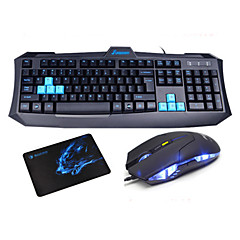 SUNSONNY Luminous Optical High-speed USB Wired Ergonomics Gaming Keyboard + Mouse + Mousepad Set
