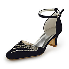 Women's Spring / Summer / Fall D'Orsay & Two-Piece Satin / Stretch Satin Wedding / Party & Evening Chunky Heel RhinestoneBlack / Blue /