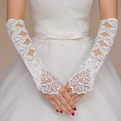 Elbow Length Fingerless Glove Satin / Lace Bridal Gloves / Party/ Evening Gloves Beading / Embroidery / Bow