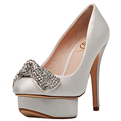 Women's Wedding Shoes Heels / Platform / Closed Toe Heels Wedding / Party & Evening / Dress Red / White / Champagne