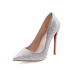 Women's Shoes Fashion Glitter Stiletto Heel 12cm Wedding / Office & Career / Party & Evening Silver Shoes