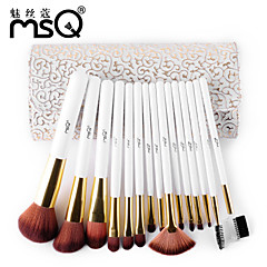 MSQ® 15pcs Makeup Brushes set Bristle Hair Hypoallergenic/Limits bacteria/Professional Fiber White Blush brush Shadow/Eyeliner/LipBrush
