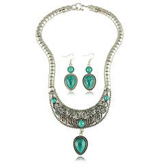 סט תכשיטים לנשים יום שנה / חתונה / מסיבה / יומי סטי תכשיטים סגסוגת טורקיז שרשראות / עגילים כסף / כחול