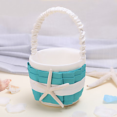 Flower Basket Satin Beach ThemeWithStarfish and Seashell
