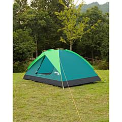 Makino 3-4人 テント トリプル 1つのルーム キャンプテント 2000-3000 mm アルミ オックスフォード 防水 通気性 防雨 防塵 抗虫 防風性 静電気防止 保温 折り畳み式-ハイキング キャンピング ビーチ 釣り 旅行 屋外 屋内-ダークグリーン