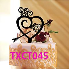 קישוטים לעוגה לא מותאם אישית לבבות אקרילי חתונה אדום / זהב / שחור נושא קלאסי 1 OPP