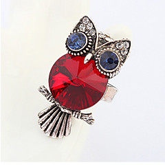 Women's European And American Fashion Exaggerated Personality Owl Crystal Ruby Adjustable Ring