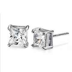 TOP Sale Trendy Real 925 Silver Rhinestone Zircon Square Stud Earrings Women Man Unisex Jewelry