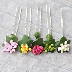 נשים נערת פרחים בד פלסטיק כיסוי ראש-חתונה אירוע מיוחד סיכת שיער 4 חלקים