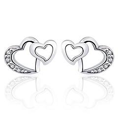 Antique 2016 Zircon Double Heart Earrings Real 925 Silver Women Crystal Stud Earrings Famous Brand Jewelry
