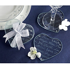 Good Wishes Heart Glass Coaster (2pcs/box)