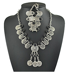 Jewelry Set Women's Anniversary / Gift / Party / Daily Jewelry Sets Alloy Rhinestone Necklaces / Bracelets Black / Silver