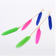 Decorative Feathers Pierced National Style Alloy Earrings