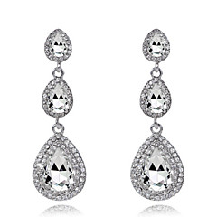 Luxury Drops Shape Cubic Zrconia Crystal Drop Earrings Jewelry for Lady(6*1.9cm)