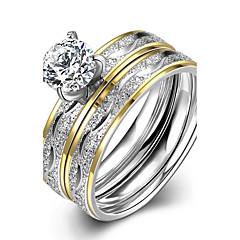 סט זירקון זירקוניה מעוקבת פלדת טיטניום ציפוי זהב אופנתי כסף תכשיטים חתונה Party יומי קזו'אל Christmas Gifts 1set