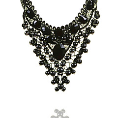 Women's Luxury Black Lace Statement Necklace Collar Necklace