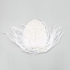 Femme / Jeune bouquetière Plume / Alliage / Imitation de perle Casque-Mariage / Occasion spéciale Coiffure 1 Pièce Blanc Rond