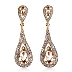 4 Color Available Drops Shape Cubic Zrconia Crystal Drop Earrings Jewelry for Lady(1.9*6.2cm)