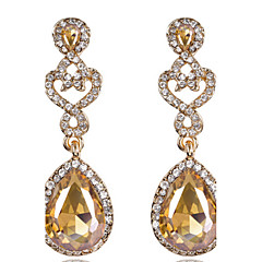 Luxury Drops Shape Cubic Zrconia Crystal Drop Earrings Jewelry for Lady(5.7*1.7cm)