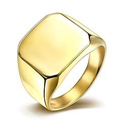 Båndringe Titanium Stål Gullbelagt Mote Enkel Stil Sølv Gylden Smykker Bryllup Fest Daglig Avslappet Julegaver 1 stk