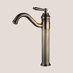 Traditionel Basin Enkelt håndtag Et Hul in Antik Messing Håndvasken vandhane