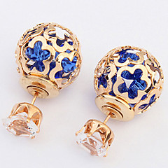 Spherical Hollow Flower Personalized Diamond Earrings Both Sides