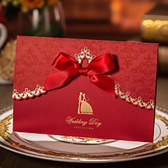 Personalized Tri-Fold Wedding Invitations Invitation Cards / Engagement Party Cards-50 Piece/Set Artistic Style Hard Card Paper Ribbons