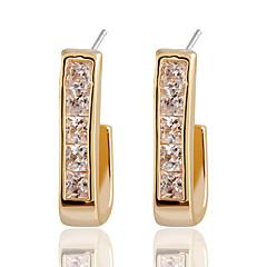 Crystal Square Simple Curved Rhinestones Gold Stud Earrings