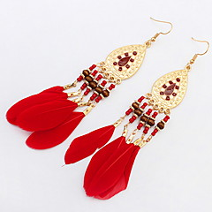 Fashion Oval Beads Feather Tassel Earrings Earrings Temperament Camera Photo Accessories