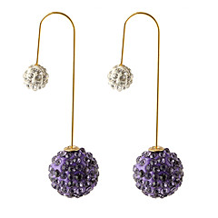 Shiny Candy Colors Full Of Diamond Crystal Two Ball Earrings
