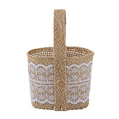 6pc Yellow Jute Fabric Lace Favor Tins and Pails Basket for Wedding Flower /Candy Decoration (8.5 * 8.5 *6cm)