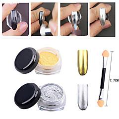 2pcs or argent pigment de poussière de poudre de miroir chrome magie paillettes aluminium ongles paillettes ongles diy outils de