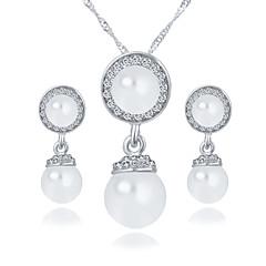 Round Imitation Pearl Earrings Angel Eyes Rhinestone Necklace Wedding Jewelry Set