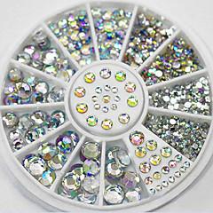 4 velikost 280pcs nail art tipy crystal třpyt drahokamu dekorace kolo