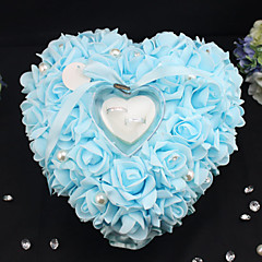 Romantic Rose Wedding Favors Heart Shaped Pearl Gift Ring Box Pillow Cushion Ring Pillow