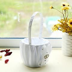 bílý satén s drahokamu dvojitým srdcem dekorace květinové koše pro svatební hostinu (12 * 12 * 24 cm)