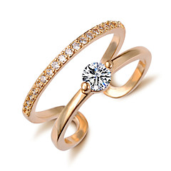 Simple Crystal Zircon Gold Plating Exquisite Opening Ring